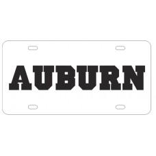 AUBURN BLOCK WHITE - License Plate