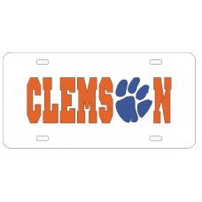 CLEMSON PAW WHITE - License Plate