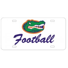 GATOR HEAD FOOTBALL SCRIPT - White License Plate