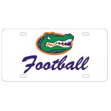 GATOR HEAD FOOTBALL SCRIPT - White License Plate