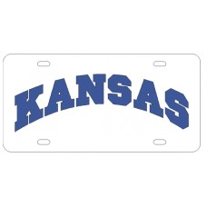 KANSAS ARCHED - White License Plate