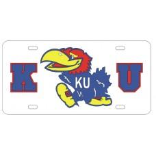 K JAYHAWK U - White License Plate