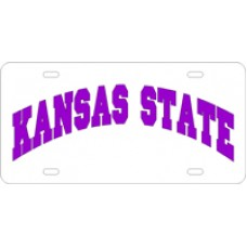 KANSAS STATE ARCHED - White License Plate