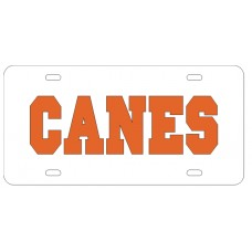 CANES - White License Plate