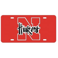 N HUSKERS - Red License Plate