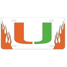 U of Miami FLAMES - FIRE UP - SILVER/ORANGE/GREEN
