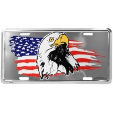 American Flag with Eagle Silver License Plate