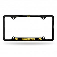 University Of Iowa Black EZ View Chrome License Plate Frame