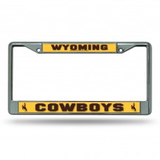 university of wyoming chrome license plate frame