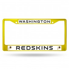 redskins yellow colored chrome license plate frame