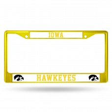 Iowa Yellow Colored Chrome License Plate Frame