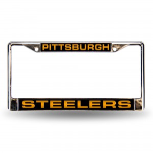 steelers black bkg laser chrome pennsylvania license plates frame