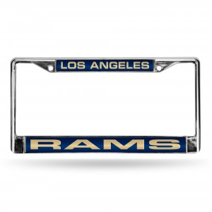 LA Rams Blue Laser Chrome License Plate Frame