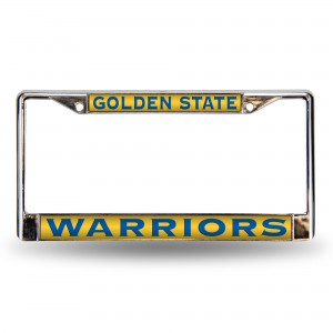 Warriors Blue and Yellow BG Laser License Plate Frame