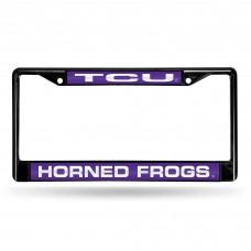 texas christian black laser chrome license plate frame