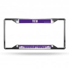 texas christian university ez view crome license plate frame