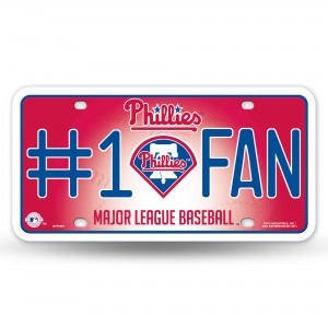 Phillies #1 Fan Red Metal License Plate