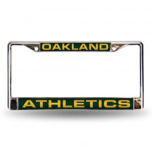 OAKLAND A'S GREEN LASER CHROME CALIFORNIA LICENSE PLATE FRAME