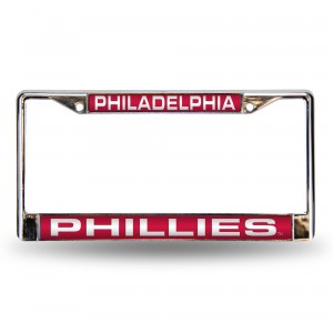 PHILLIES RED/WHITE LASER CHROME PENNSYLVANIA LICENSE PLATES FRAME
