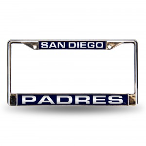 SAN DIEGO PADRES NAVY/WHITE LASER CALIFORNIA LICENSE PLATE FRAME