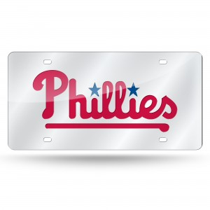 PHILLIES WORDMARK LASER Pennsylvania License Plates SILVER