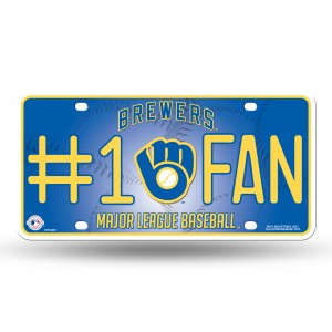 BREWERS BALL & GLOVE #1 FAN METAL NUMBER PLATE