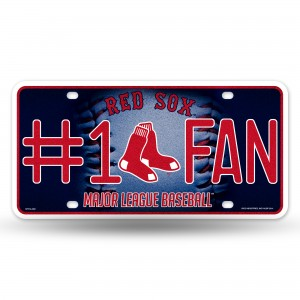 RED SOX BLING # 1 FAN METAL NUMBER PLATE