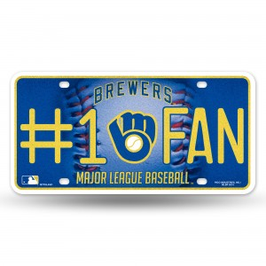 BREWERS BLING # 1 FAN METAL NUMBER PLATE