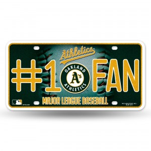 ATHLETICS BLING # 1 FAN METAL NUMBER PLATE