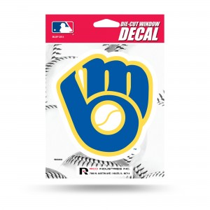 MILWAUKEE BREWERS BALL AND GLOVE MEDIUM DIE CUT STICKERS