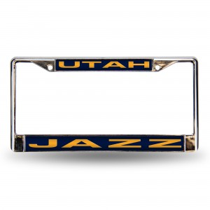 UTAH JAZZ BLUE LASER CHROME UTAH LICENSE PLATES FRAME