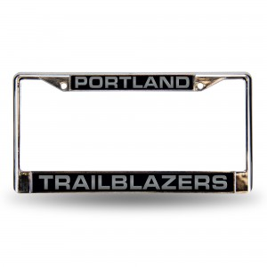 TRAILBLAZERS BLK LASER CHROME OREGON LICENSE PLATE FRAME
