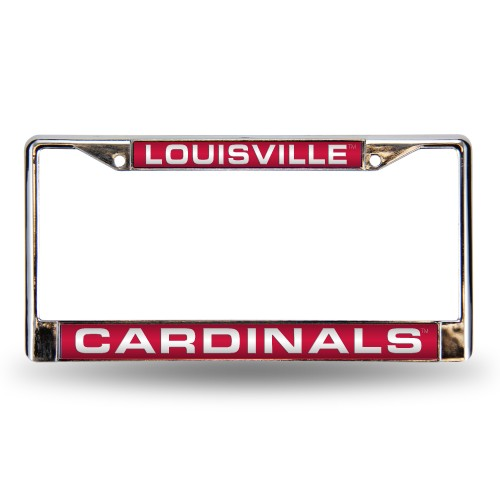 LOUISVILLE RED LASER CHROME LOUISIANA LICENSE PLATES FRAME