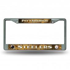 PITTSBURGH STEELERS YELLOW BG CHROME FRAME Pittsburgh Steelers Logo Products
