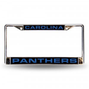 CAROLINA PANTHERS BLK LASER CHROME NC LICENSE PLATE FRAME