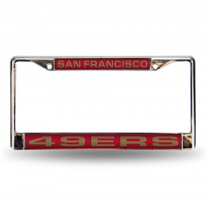 49ER'S RED LASER CHROME CALIFORNIA LICENSE PLATE FRAME