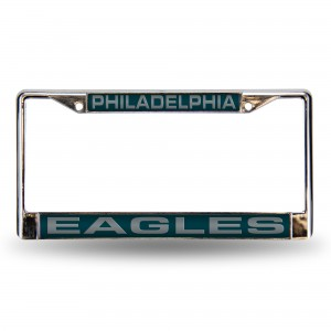 EAGLES GREEN LASER CHROME PENNSYLVANIA LICENSE PLATES FRAME