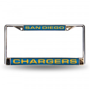 CHARGERS LT BLUE LASER CHROME CALIFORNIA LICENSE PLATE FRAME