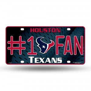 TEXANS #1 FAN PRIMARY LOGO METAL NUMBER PLATE