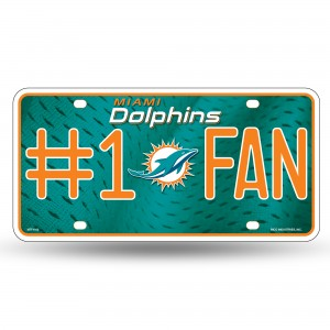 DOLPHINS #1 FAN PRIMARY LOGO METAL NUMBER PLATE