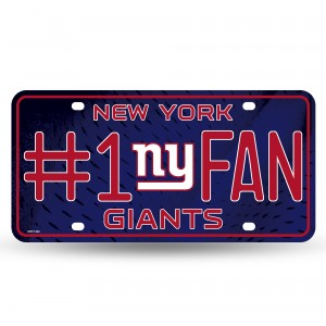 NY GIANTS #1 FAN PRIMARY LOGO METAL NUMBER PLATE