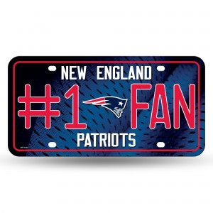 PATRIOTS #1 FAN PRIMARY LOGO METAL NUMBER PLATE