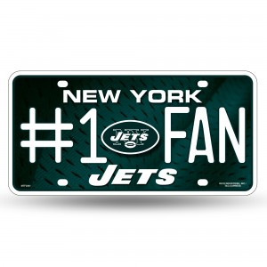 JETS #1 FAN PRIMARY LOGO METAL NUMBER PLATE