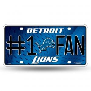 LIONS #1 FAN PRIMARY LOGO METAL NUMBER PLATE