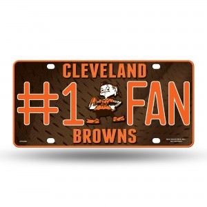 BROWNS #1 FAN PRIMARY LOGO METAL NUMBER PLATE