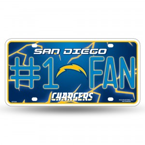 CHARGERS BOLT LOGO #1 FAN METAL NUMBER PLATE