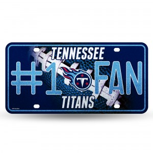 TENNESSEE TITANS #1 FAN PRIMARY LOGO BLING METAL NUMBER PLATE