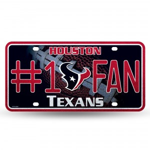 TEXANS BLING # 1 FAN METAL NUMBER PLATE
