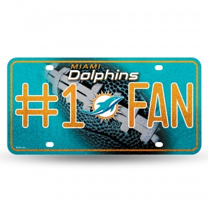 DOLPHINS BLING # 1 FAN METAL NUMBER PLATE