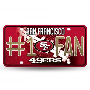 49ERS BLING # 1 FAN METAL NUMBER PLATE